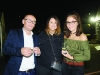 Neil Treanor, Sofie Herron and Alanna Power at the marquee during the festival. ©Rory Geary/The Northern Standard